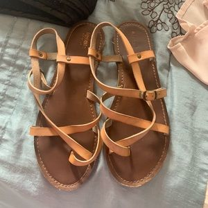 Tan strapped sandals